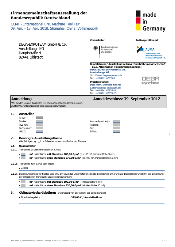 Application Form German Participation (German)